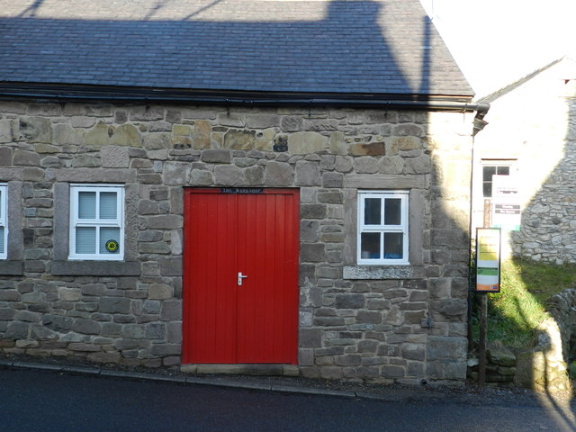 The Workshop, with red door