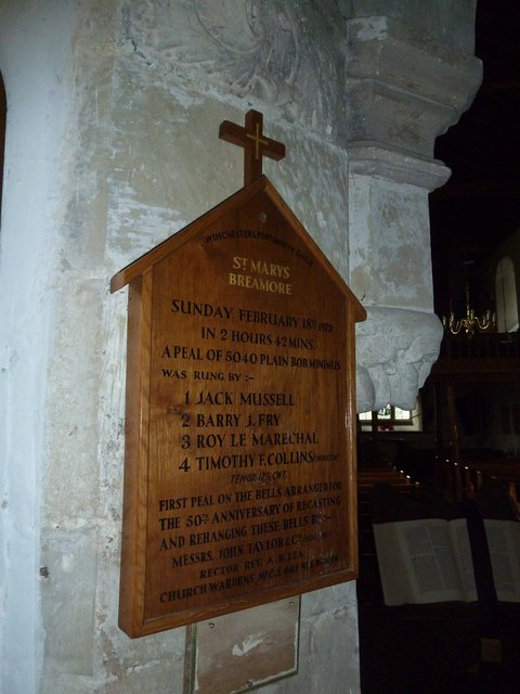 St Mary's Church, Breamore- bell ringing commemoration