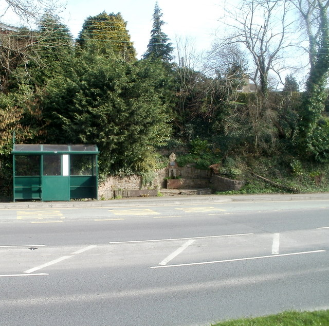 Bus shelter and restored trough, Caerphilly Road, Bassaleg
