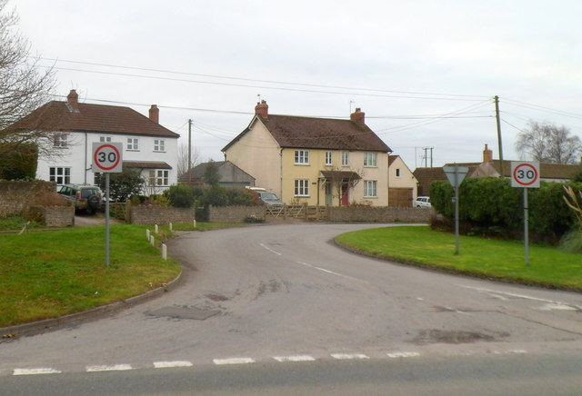 Elberton houses on the south side of the B4461