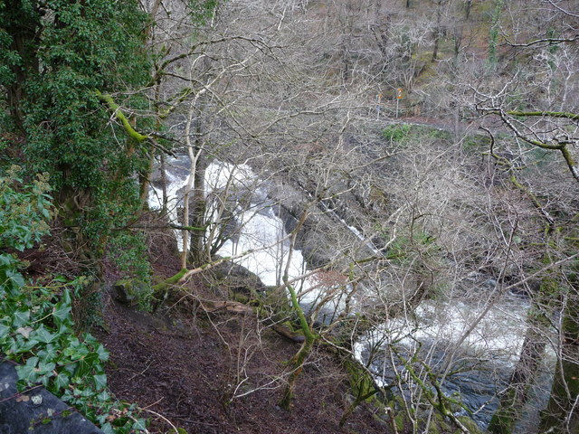 Part of Pont Cyfyng Falls in winter