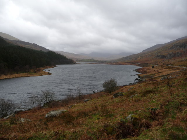 Llynnau Mymbyr from Plas y Brenin in winter