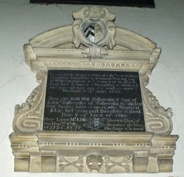 Memorial to Anne Staunton, St Mary's church