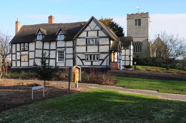 Church Cottage and Hindlip church