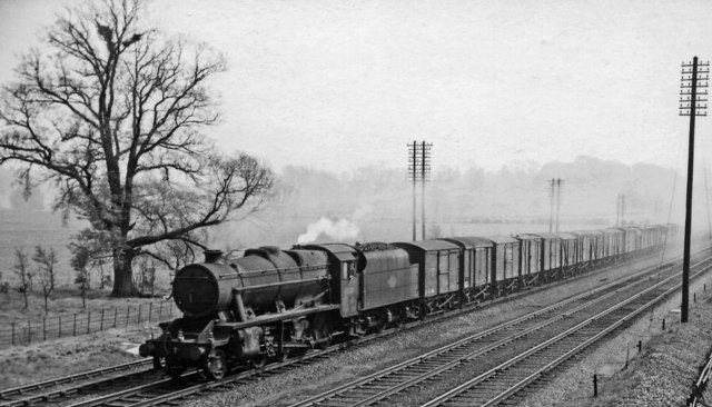 Down freight on Midland Main Line at Millbrook, north of Ampthill
