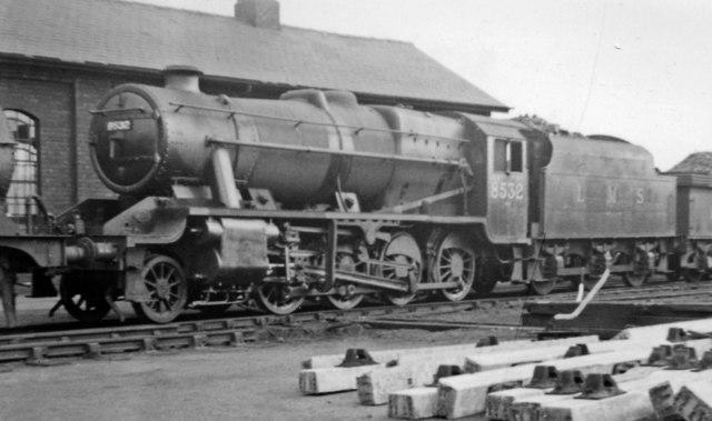 LNER-built Stanier 8F at Normanton Locomotive Depot