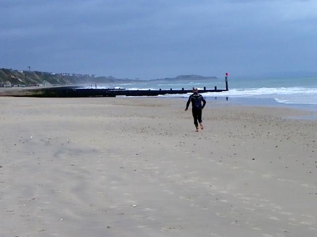 Running on the beach, Boscombe
