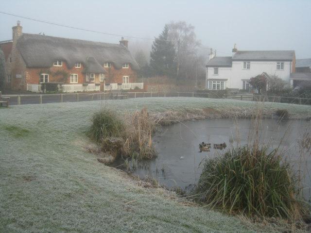 Frosty village scene