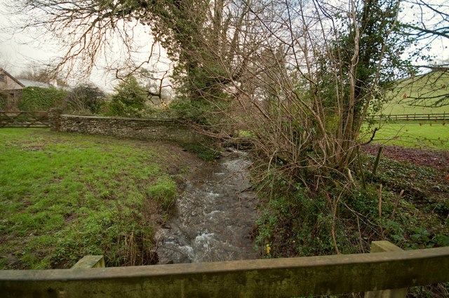 The view upstream from a footbridge on Coney Gut at Coombe Farm