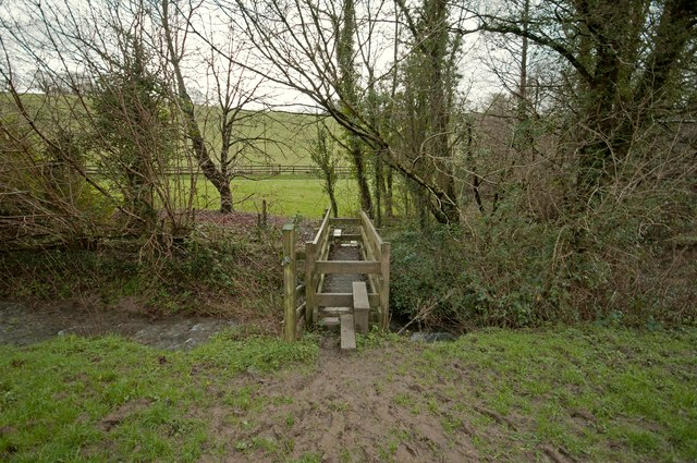 A footbridge on Coney Gut at Coombe Farm