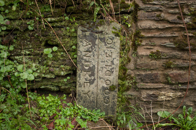 A boundary stone on a bridge over Coney Gut near Goodleigh