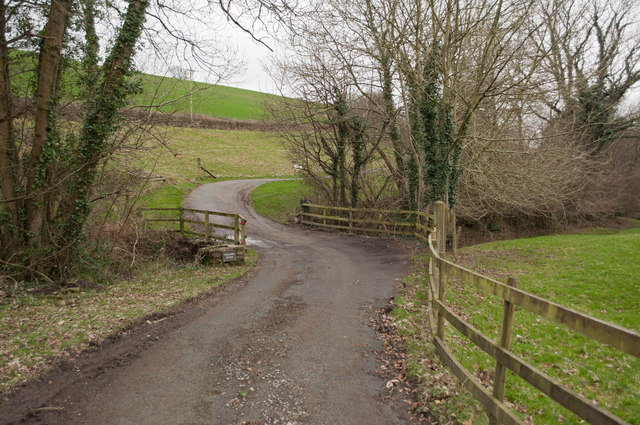 A driveway passing over Coney Gut near Youldon House