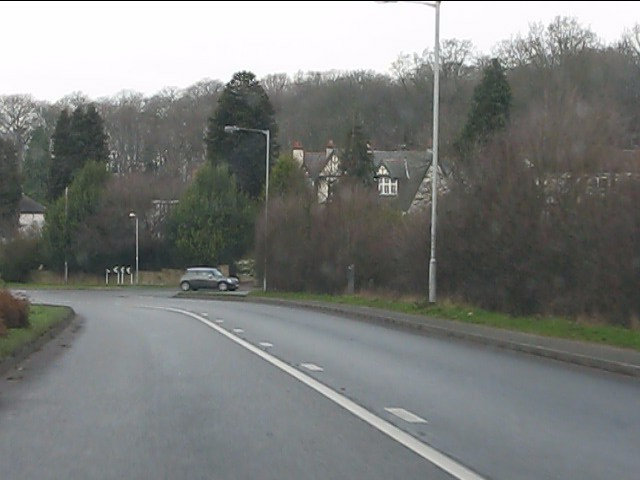 A458 approaching the B4537 junction