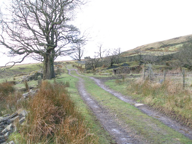 Foulclough Road and the remains of the Moorcock Inn