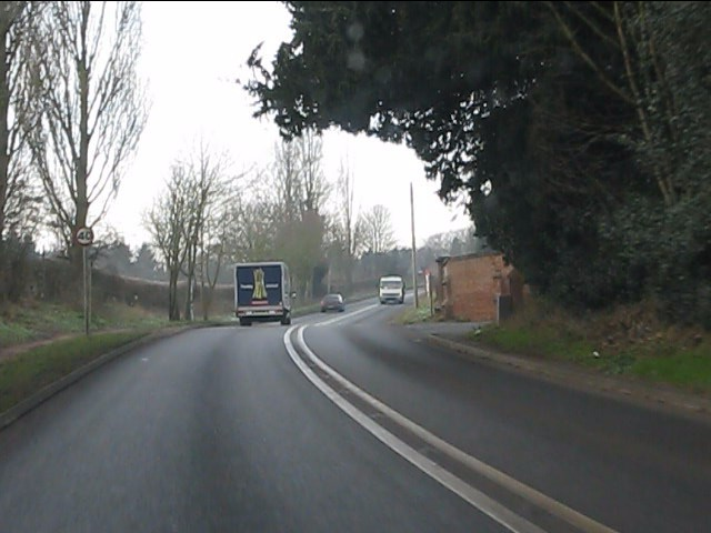 A458 climbing west from Stourton