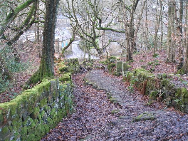 The old line of Birks Lane, Walsden