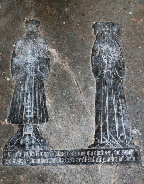 Brass to John and Alice Heneage, St Mary's church, Hainton