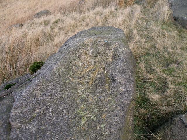 Rivet benchmark on large rock beside the Pennine Bridleway