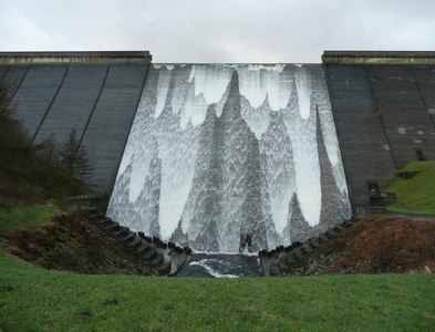 SE0316 : Booth Wood Reservoir spillway in action by Humphrey Bolton