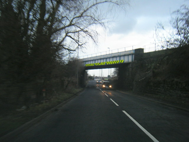 Farnworth Road passing under Liverpool to Warrington railway line