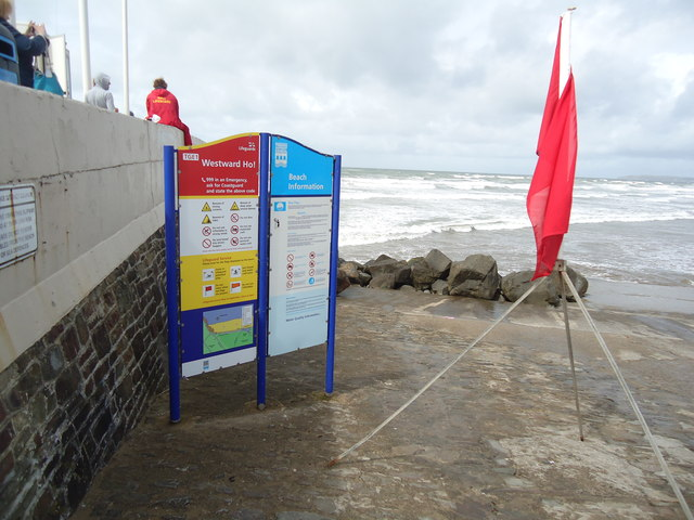 Information signs, Westward Ho! beach