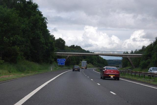 Footbridge south of Junction 7, M74