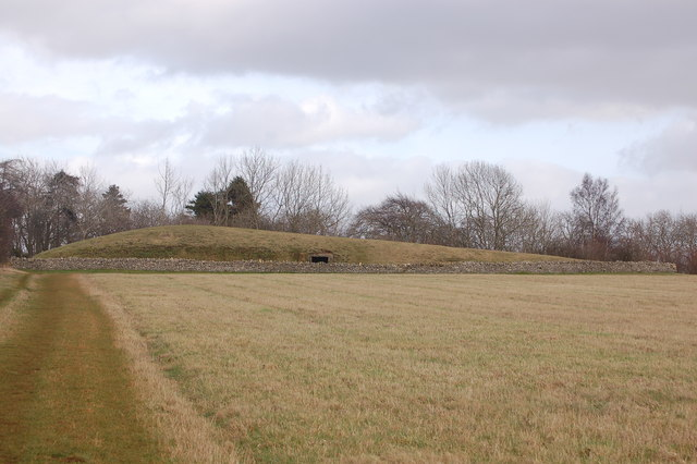 Belas Knap in January from the Cotswold Way
