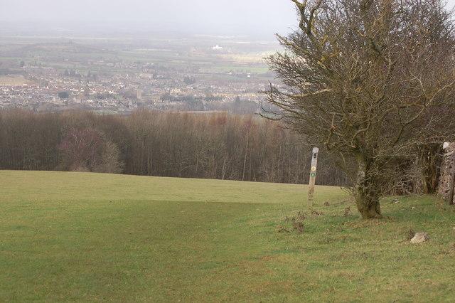 Cotswold Way and Winchcombe Way below Belas Knap