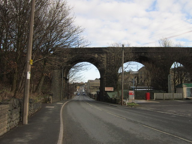 The old rail bridge over Saddleworth Road, Greetland