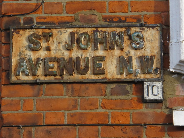 Sign for St. John's Avenue, NW10