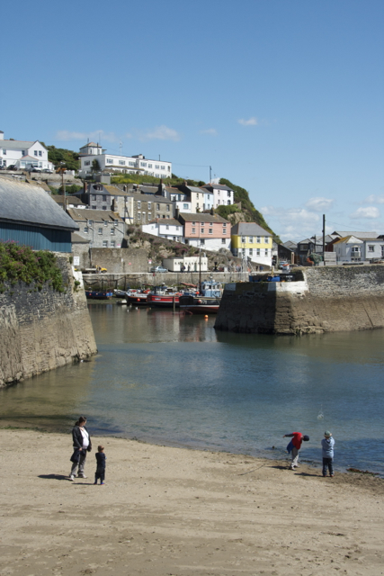 Skimming under the Inner Harbour Wall Mevagissey