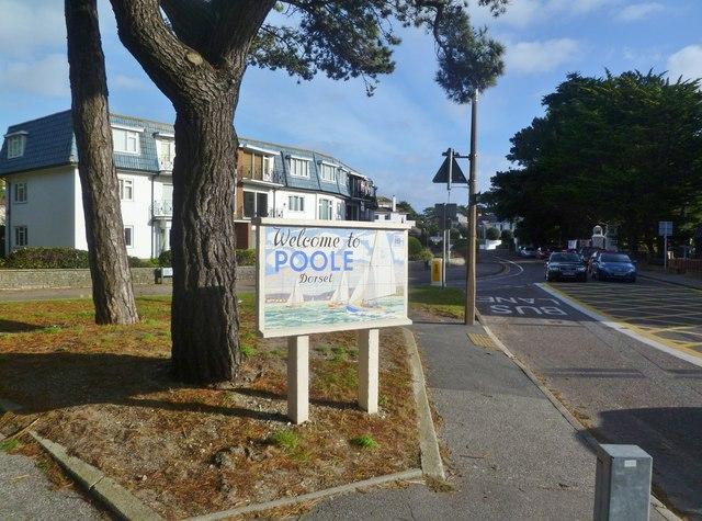 Sandbanks, welcome sign