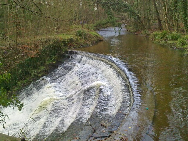 Weir/waterfall by Caeau Bridge on the River Clywedog