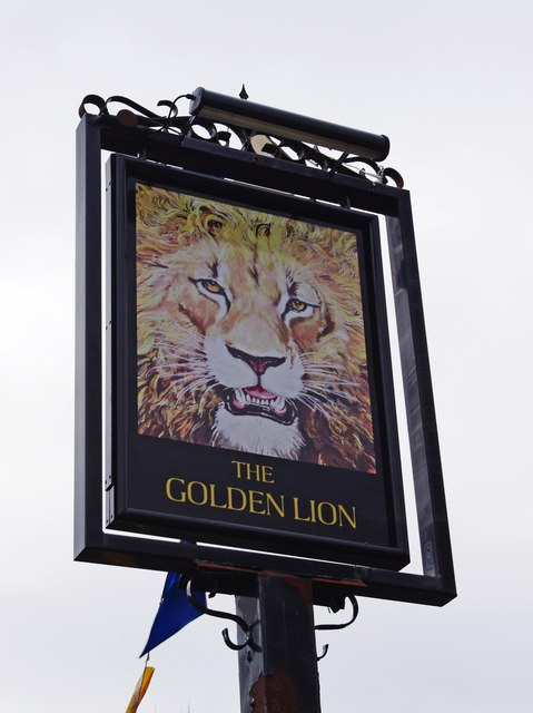The Golden Lion (2) - sign, Austin Road, Charford, Bromsgrove