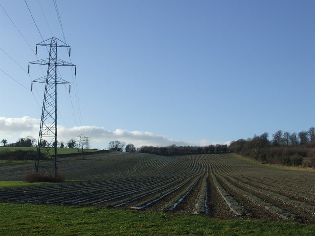 Ploughed field and pylons near Lullingstone