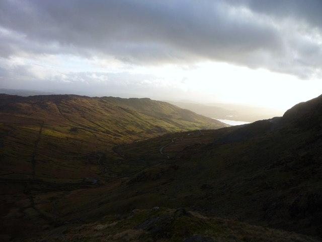 View down Kirkstone Pass from path to Red Screes