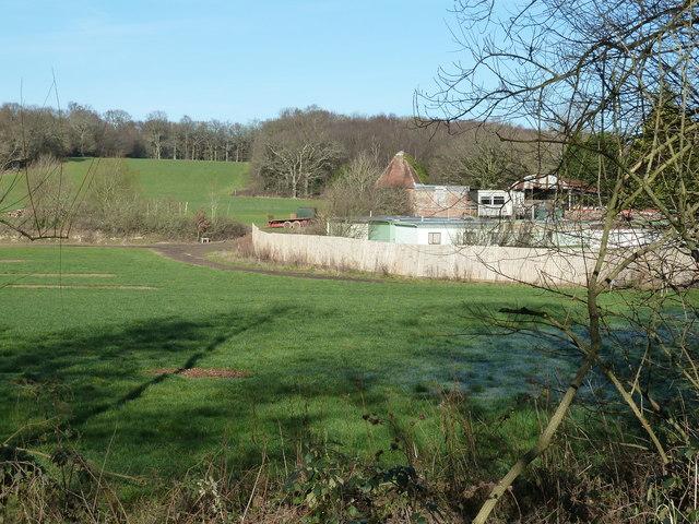 Unconverted square kiln oast house at Wapsbourne Farm
