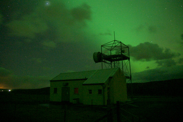 Aurora borealis over the comms station on Caldback Hill