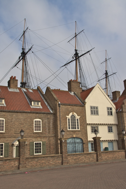 HMS Trincomalee's topsails above the roofs