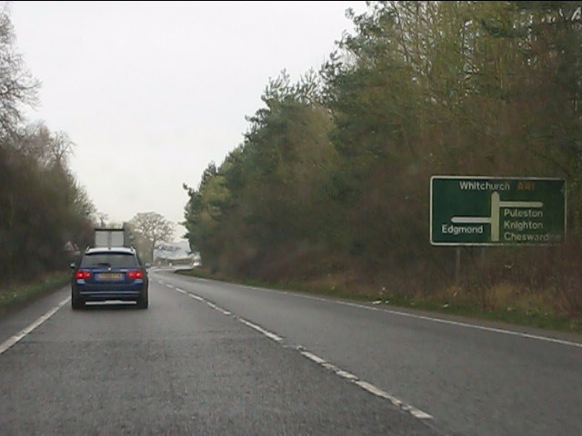 A41 approaching the junctions at Chetwynd Park