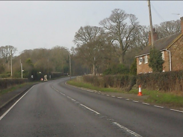 A41 at the isolated cottage near Lane End