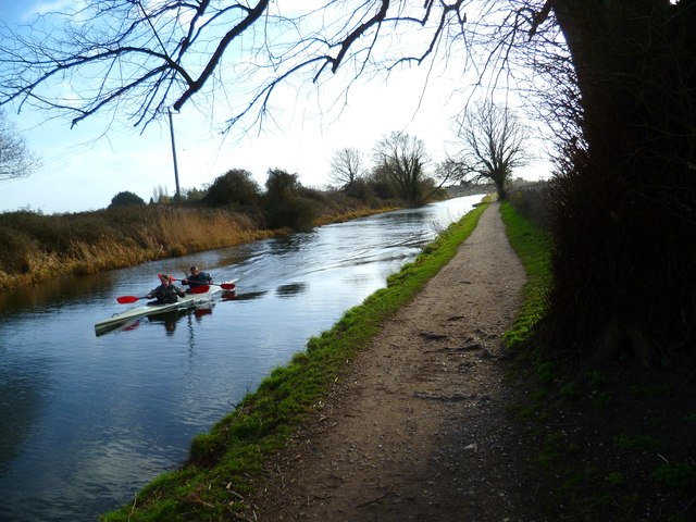 Paddling along the canal