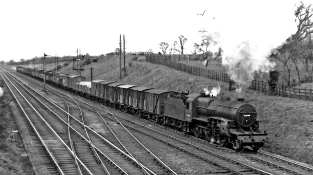 Up freight on Midland Main Line north of Harlington