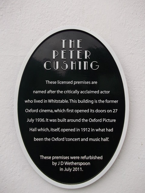 The Peter Cushing Wetherspoons Plaque