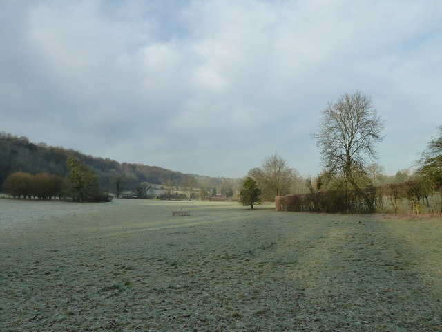A frosty field behind The Wakes