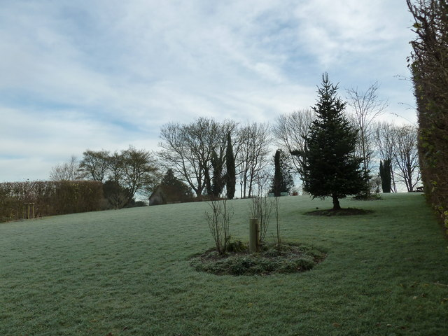 A frosty scene approaching The Wakes from the Gilbert White Study Centre