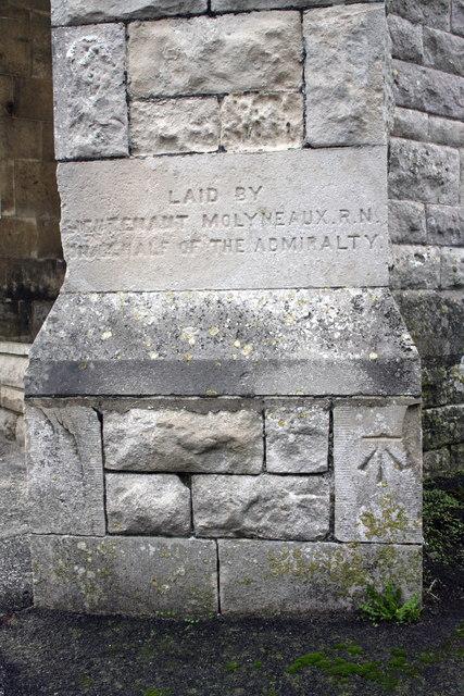 Benchmark on buttress of Underhill Methodist Church