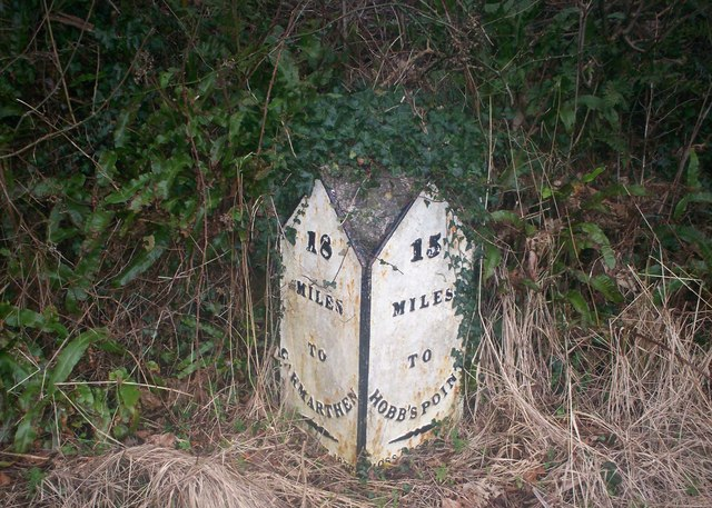 Milestone near Oaklands, Llanteg