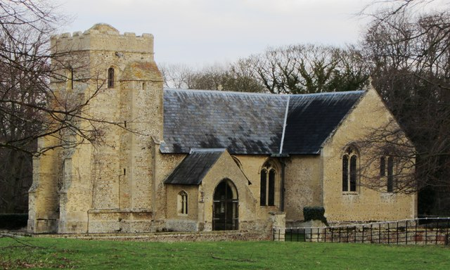 St Nicholas Church, Landwade (winter)
