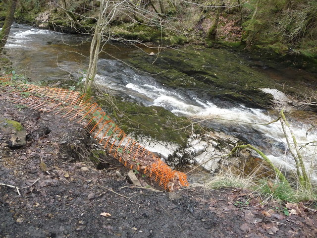 Bank collapse on the Afon Nedd Fechan
